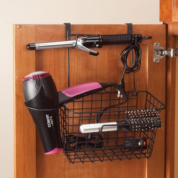 over the cabinet door blow dryer curling iron organizer miles kimball. Black Bedroom Furniture Sets. Home Design Ideas