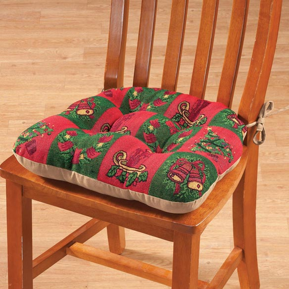 Reversible Holiday Checkers Chair Pad
