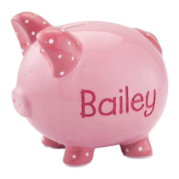 Personalized Etched Children's Piggy Bank - View 1