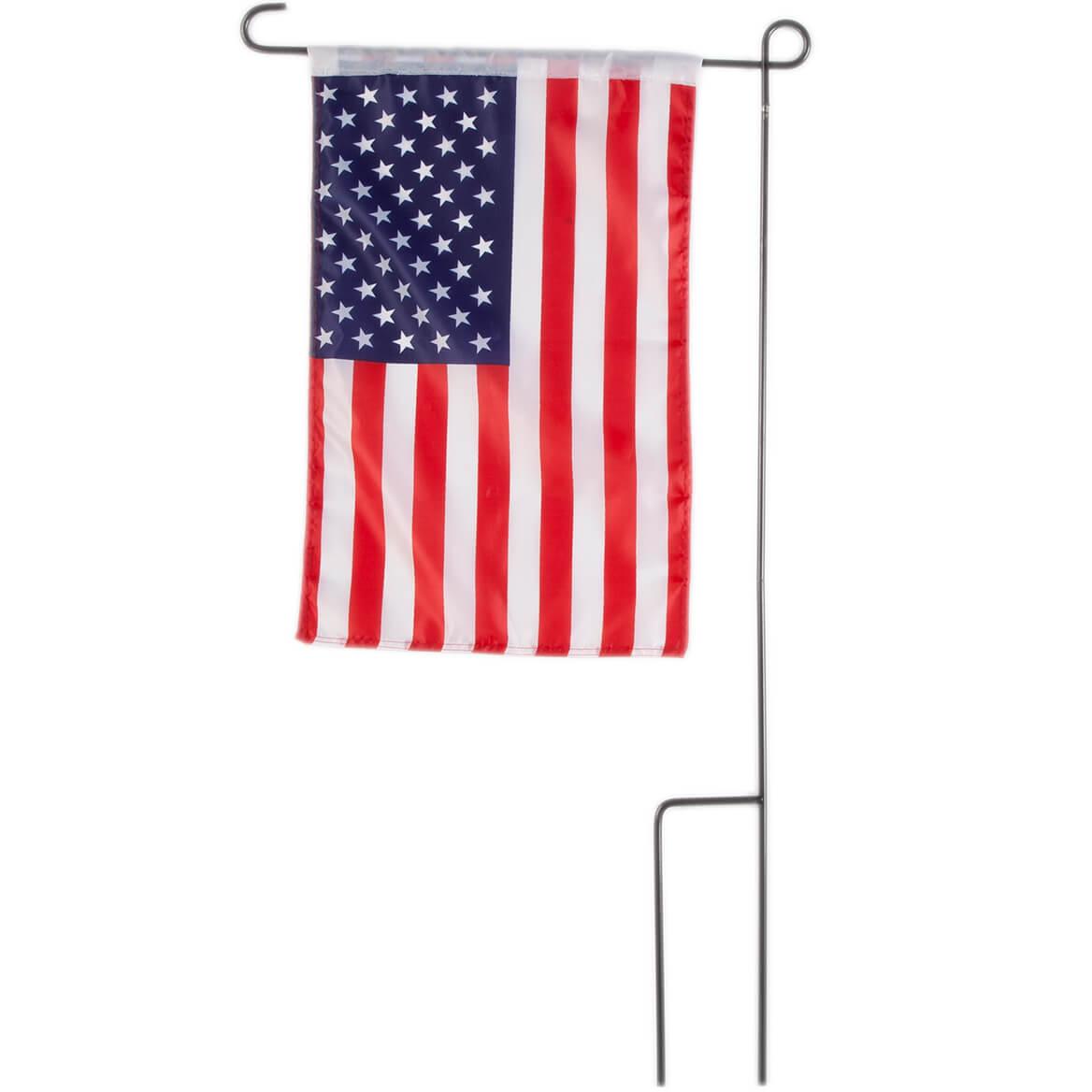 american flag garden flag and pole flag holder miles. Black Bedroom Furniture Sets. Home Design Ideas