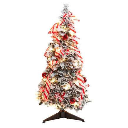 3 ft candy cane frosted pull up tree by northwoods greenery - Pull Up Christmas Tree