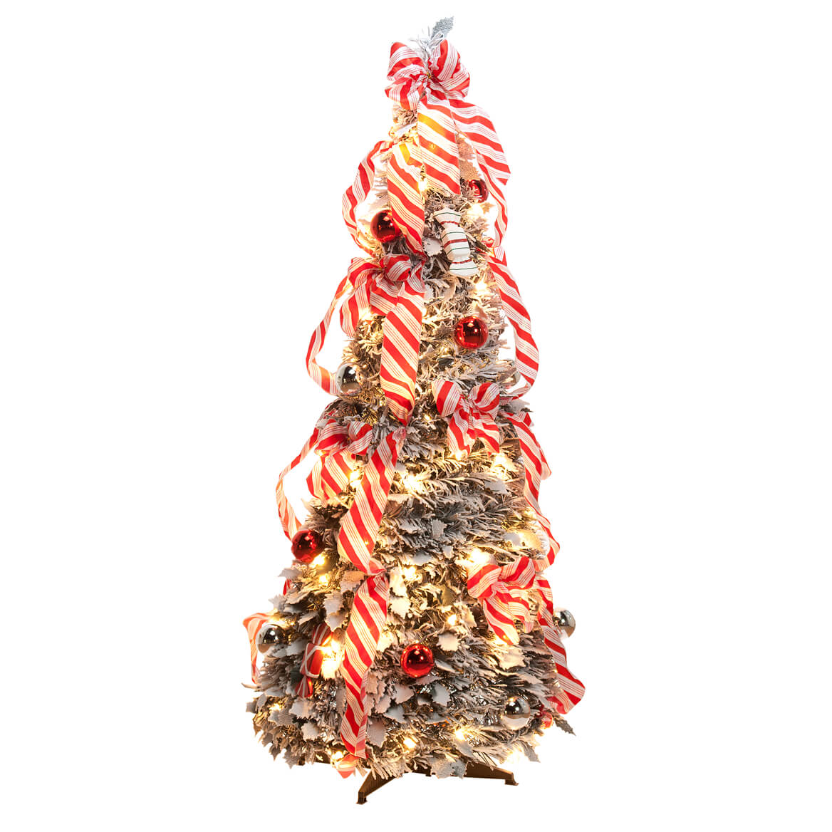 Pull up christmas tree reviews - 4 Ft Candy Cane Frosted Pull Up Tree By Northwoods Greenery