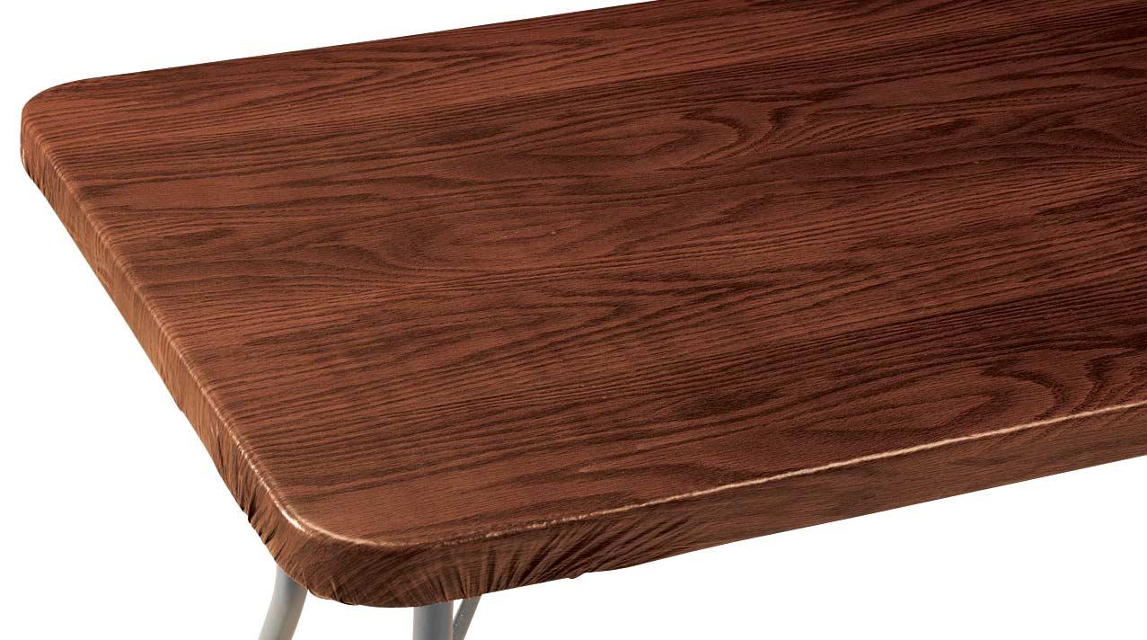 Wood Grain Vinyl Elasticized Banquet Table Cover Mahogany