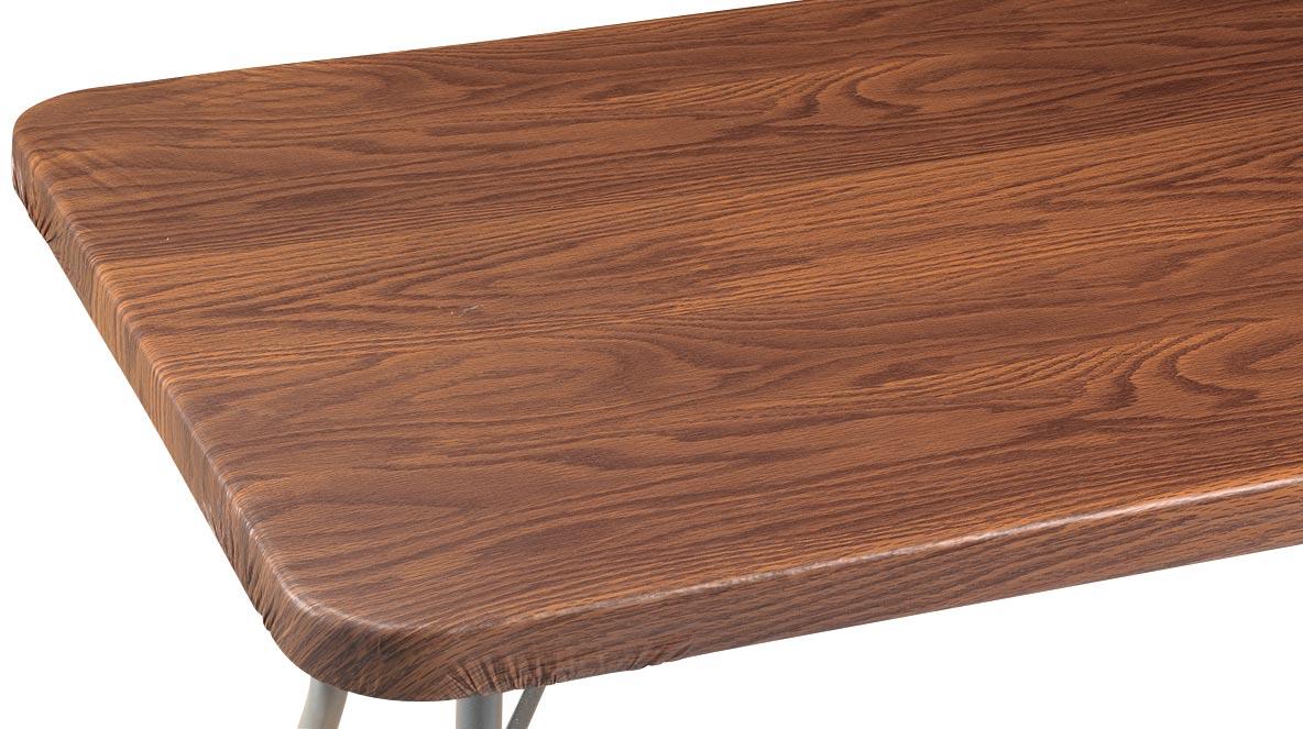 Wood Grain Vinyl Elasticized Banquet Table Cover Oak 36
